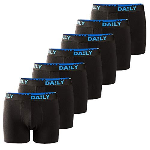 DA!LY UNDERWEAR Herren Boxershort Basic Boxer Retro Trunks 7er Pack Unterhosen Schwarz Waistband Bunt 95% Baumwolle Daily S M L XL XXL 3XL 4XL 5XL 6XL, Größe:5XL, Farbe:Schwarz/Blau