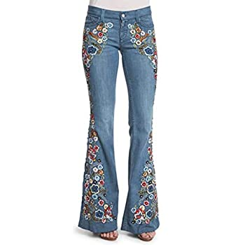 UOFOCO Women Mid Rise Embroidery Skinny Bell Bottoms Jeans Distressed Flared Denim Pants  Large,Light Blue