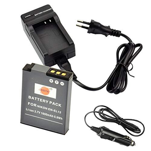 DSTE® Ersatz Batterie und DC03E Reise Ladegerät Compatible für Nikon EN-EL12 Coolpix P310 P330 P340 S31 S70 S610 S620 S630 S640 S800c S1000pj S1100pj S1200pj S6000 S6100 S6150 S6200 S6300 S8000 S8100