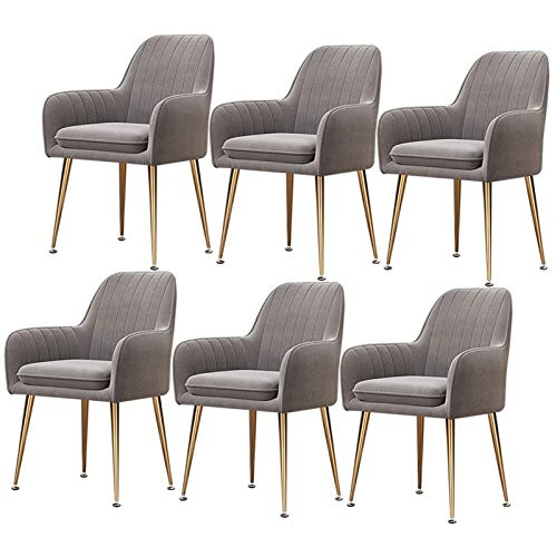6× Velvet Modern Dining Chairs Living Room Arm Chair Upholstered Chair with Gold Metal Legs for Club Leisure Guest Lounge Bedroom (Color : Gray)