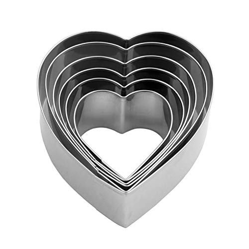 """Heart Cookie Cutter Set - 6 Piece - 3 4/5"""", 3 1/5"""", 2 4/5"""", 2 3/5"""", 2 1/5"""", 1 4/5"""" - Heart Shaped Cookie Cutters, Stainless Steel Biscuit Pastry Cutters"""