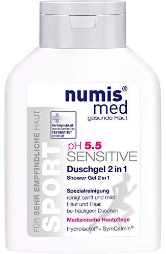numis med Sport Duschgel 2in1 ph 5.5 SENSITIVE - Hautpflege vegan & seifenfrei - Shower Gel & Shampoo für sensible, feuchtigkeitsarme & zu Allergien neigende Haut (1x 200 ml)