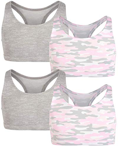 Only Girls Racerback Sports Training Bra - Butter Super Soft Touch Yummy Fabric (4 Pack), Size Medium, Heather Grey/Pink Camo'