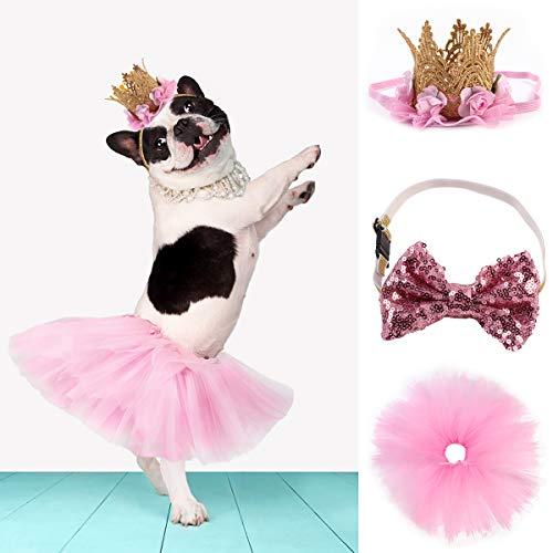 Ruiqas Hund Tutu Rock Fliege Krone Hut Set, Pet Birthday Party Supplies Hochzeit Rock Outfit Mädchen Pet Welpen Anzug Kostüm für kleine mittlere Hunde