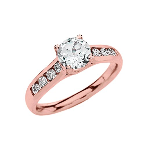 Channel Set Diamond Rose 9 ct Gold Engagement Solitaire Ring with 1 Carat White Topaz Center Stone CII