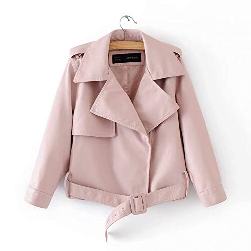 SHANGYI jas herfst korte jas PU jas windjas vrouwelijke revers jas