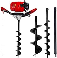 "ECO LLC 52cc 2.4HP Gas Powered Post Hole Digger with Two Earth Auger Drill Bit 6"" & 10"" + Extention"