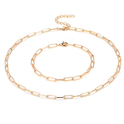 14 Karat Vergoldet Kette Büroklammer Halskette Armband Set für Frauen Mädchen (Roségold)
