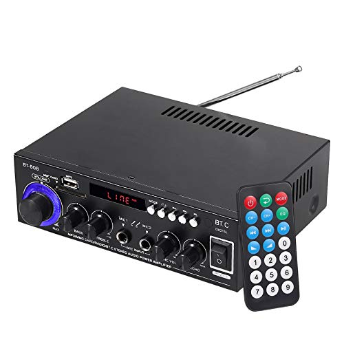 Amplificador de Audio Estéreo Hi-Fi Bluetooth 5.0 con Control Remoto Amplificador Portátil con 2 Entradas de Micrófono Control de Reverberación para el Hogar del Automóvil MP3 MP4 SD USB 12V / 220V