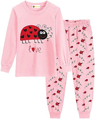 MOLYHUA Marienkäfer Schlafanzug Mädchen Lang Kinder Zweiteiliger Nachtwäsche Pyjama Set Herbst Winter Weihnachten Pyjama 2 Stück Set Bekleidung,03 Marienkäfer,98