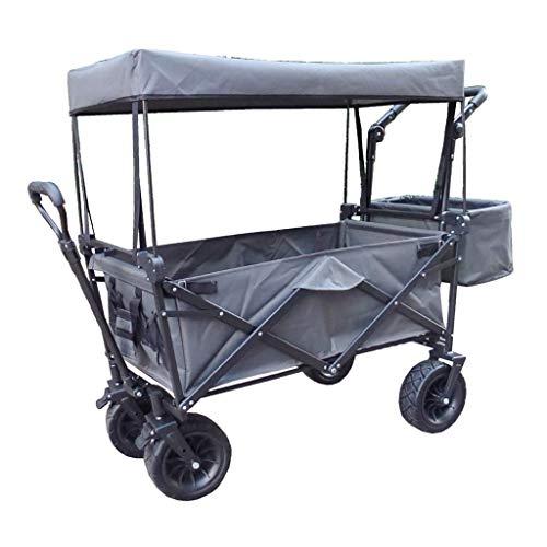 LLSS Aufbewahrungswagen Klappbarer Gartenwagen Hochleistungswagen mit Baldachin Multifunktions-Einkaufswagen für Camping im Freien Beach Pull Truck mit 4 Rädern, Last: 150 kg
