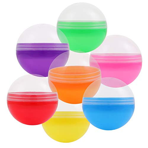 Empty Clear-Colored Round Capsules 2 inch 50 pcs Bulk 7 Colors Capsule For Toy Gumball Machines Plastic Containers Surprise For Kids Party Favor Prize