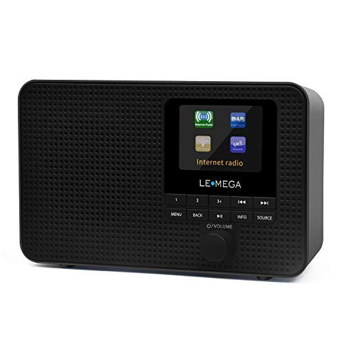 LEMEGA IR1 Tragbares Internetradio,DAB/DAB+/UKW-Digitalradio, WiFi,Bluetooth, Doppelalarm und Uhr, Schlaf/Schlummer, 60 Voreinstellungen,Kopfhörer, Farbbildschirm, Netzstrom und Batterien - Schwarz