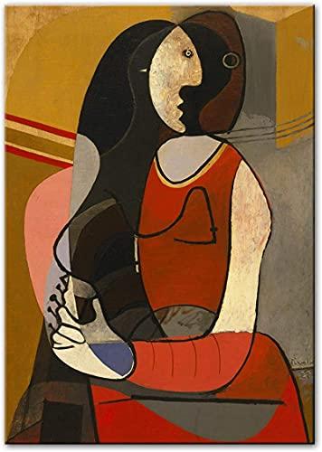 Crazystore Póster Arte de Pared 30x50 cm sin Marco Mujer sentada Reproducciones de Pablo Picasso Impresiones de Arte de fama Mundial Picasso Cuadros Abstractos de Pared Decoración para el hogar