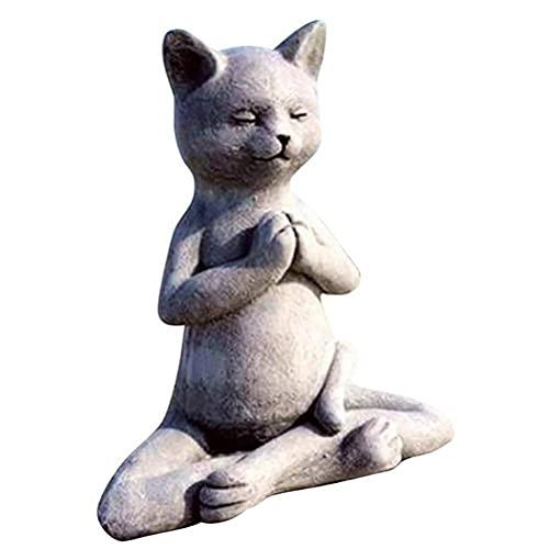 HUSHUI Estatua de Buda de Perro Gato meditando, Estatua de Gato de Buda, Postura de...