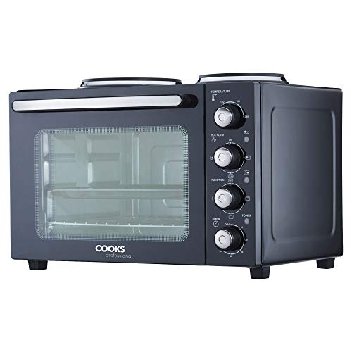 Cooks Professional 34L Mini Oven & Hob, Electric Multi Function Countertop Cooker with Two Hot Plates, Adjustable Temperature Control & Timer, 1500W with Roasting Dish, Wire Rack & Detachable Handle