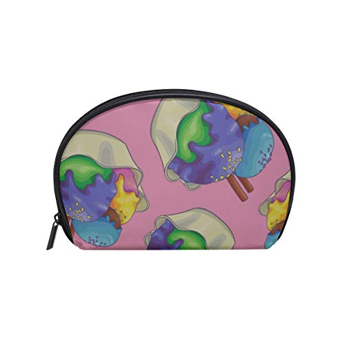 Shell Shape Kids Travel Toiletry Bag Colorful Cute Dessert Snack Cup Cake Print Cosmetic Duffle Bag Portable Makeup Organizer Portable Travel Multifunction Storage Bag With Zipper For Women