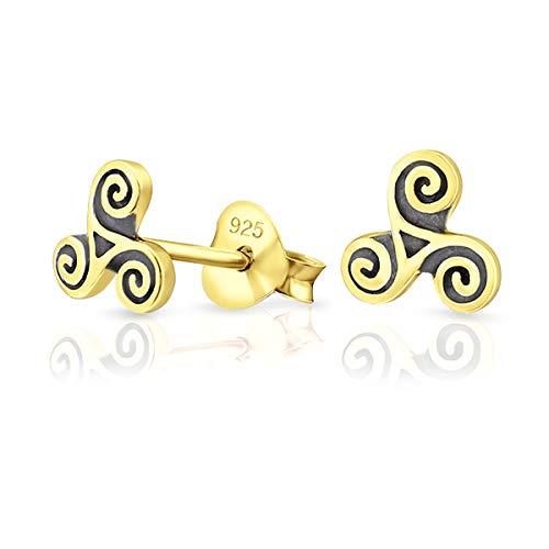 DTPsilver® Aretes/Pendientes Pequeños de Plata de Ley 925, Chapado en Oro Amarillo o Rosa - Triskel Celta - Diámetro : 6 mm