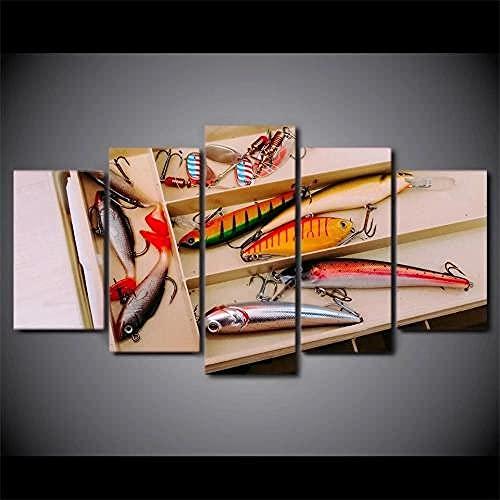 Lienzo 5 Piezas Arte de la pared de los anzuelos de pesca Lienzos Decorativos Cuadros Grandes Baratos Cuadros Decoracion Cuadros Para Dormitorios Modernos Cuadros Decoracion Regalos Personalizados