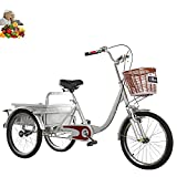 Triciclo para Adultos de 20 '' Bicicleta de 3 Ruedas para Ancianos Bicicleta Scooter de Tres Ruedas con Canasta Trasera de Hierro, Acero con Alto Contenido de Carbono amortiguadora (Color:Silver)