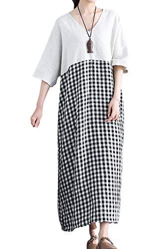 Yulinge Damen, Baumwolle Und Leinen Kleid Schicht Baggy Vintage - Kleider weiße XXL