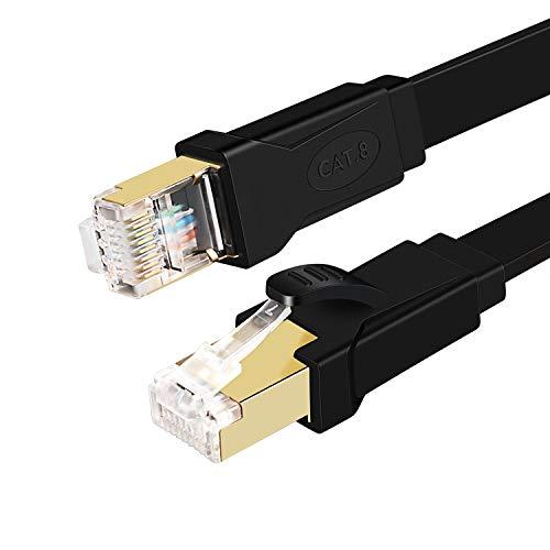 QING CAOQING Cat 8 Câble Ethernet Plat RJ45 Réseau 40Gbps 2000 MHz SFTP Blindé Cordon RJ45 Compatible avec Routeur Modem Switch TV Box Xbox PS3/4 (10M)