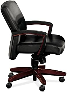 HON 5002NSS11 5000 Series Park Avenue Managerial Mid-Back Chair, Mahogany/Black Leather