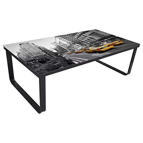 Mesa de Centro de Hierro con Superficie de Vidrio 90 x 45 x 32 cm Mesa de Café Rectangular para Salón Estilo Moderno