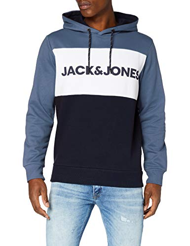 JACK & JONES JJELOGO Blocking Sweat Hood STS Sweatshirt à Capuche, Bleu Chine, M Homme