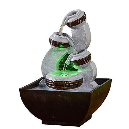 Zen Light – Zimmerbrunnen Kara – Zen Atmosphäre und Entspannung – Wasserfluss auf 3 Ebenen – leise Pumpe – LED-Beleuchtung Mehrfarbig – L 13 x B 12 x H 18 cm, grau, Einheitsgröße