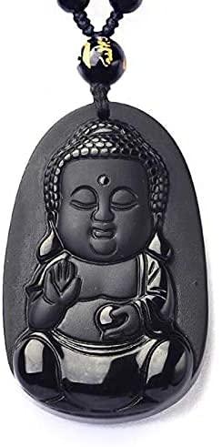 ZYLZL Collar de obsidiana negra colgante bebé Buda colgante de jade joyería para hombre joyería de jade para amantes
