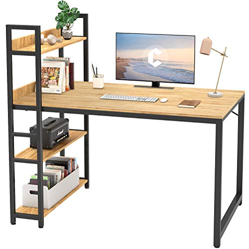 Cubicubi Computer Desk 47 inch with Storage Shelves Study Writing Table for Home Office,Modern Simple Style, Natural