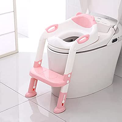 711TEK Potty Training Seat Toddler Toilet Seat with Step Stool Ladder,Potty Training Toilet for Kids Boys Girls Toddlers-Comfortable Safe Potty Seat Potty Chair with Anti-Slip Pads Ladder (Pink) by 711TEK