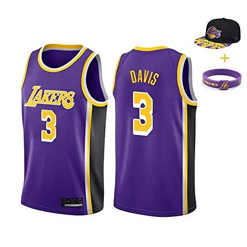 YUUY Lakers, Anthony Davis #3 Mangas Cortas de Entrenamiento Transpirables,Camiseta de Baloncesto Bordada a Mano,Multicolor Opcional, Juvenil (Color : Purple, Size : Children-10/12)