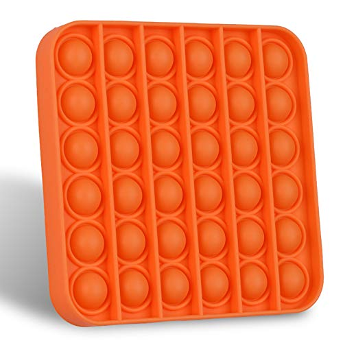 Push Pop Bubble Sensory Fidget Toy, Durable Squeeze Sensory Toy for Training Logical ThinkingSoft Silicone for Anxiety Stress (Square Orange)
