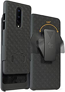OnePlus 8 Case with Clip, Nakedcellphone Kickstand Cover with [Rotating/Ratchet] Belt Hip Holster Combo for OnePlus 8 Phone