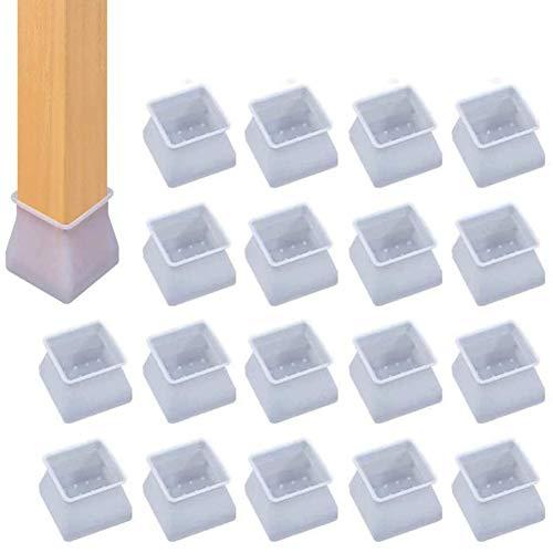 32Pcs Protectores para Patas de Silla, Protectores de Suelo Transparentes para Patas Cuadradas, Previene Arañazos y Ruidos Sin Dejar Marcas, Gris