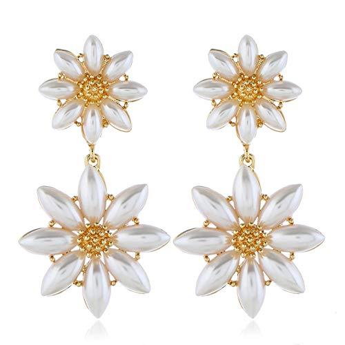 NA for Women Pearl Flower Lady Earrings Unusual Earrings Gifts for Women