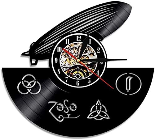 Reloj de Reloj de Vinilo RECORDO RECORDO DE Recambio DE Recambio DE Recambio LED Zeppelin - Reloj de diseño 3D Wall Deco Vintage Habitación Familia de la decoración Regalo de Arte, diámetro 30