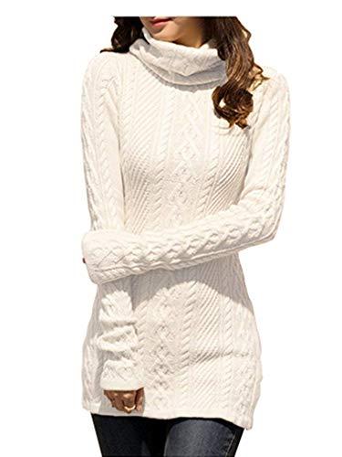 v28 Women Polo Neck Knit Stretchable Elasticity Long Slim Sweater 1216,White