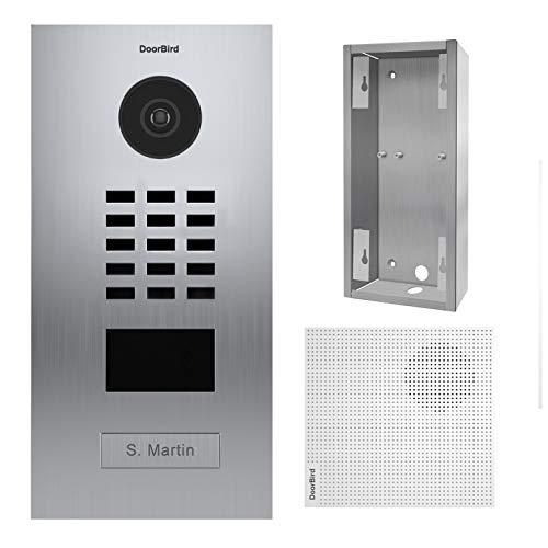 Doorbird D2101V IP-deurintercom 1 bel + deurbel + montagehouder, roestvrij staal