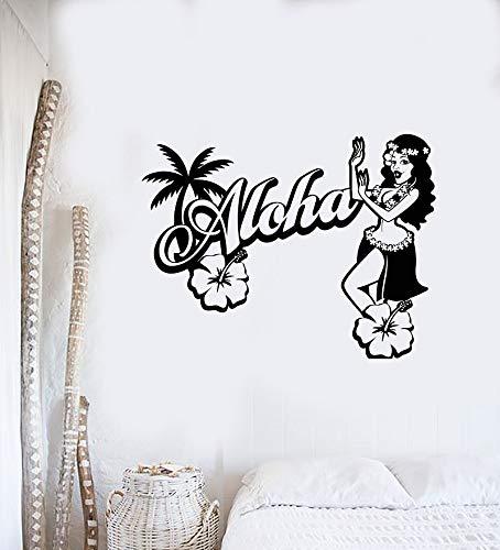 ASFGA Cartoon Reise Vinyl Wandtattoo Schönheit Logo Hawaiian Tänzerin Strand Urlaub Dekoration Wandaufkleber Home Girl Raumdekoration 55x42cm