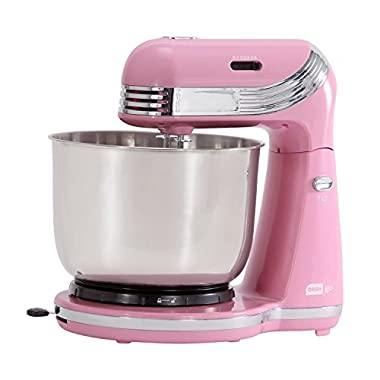 Dash Stand Mixer (Electric Mixer for Everyday Use): 6 Speed Stand Mixer with 3 qt Stainless Steel Mixing Bowl, Dough Hooks & Mixer Beaters for Dressings, Frosting, Meringues & More - Pink