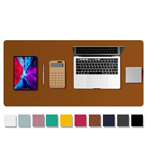 Leather Desk Pad Protector,Mouse Pad,Office Desk Mat,Non-Slip PU Leather Desk Blotter,Laptop Desk Pad,Waterproof Desk Writing Pad for Office and Home (Brown,36' x 17')