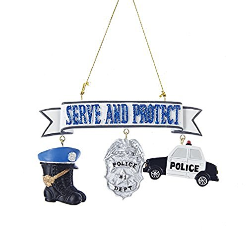 'SERVE AND PROTECT' POLICEMAN WITH BOOTS, SHIELD AND CAR DANGLES ORNAMENT