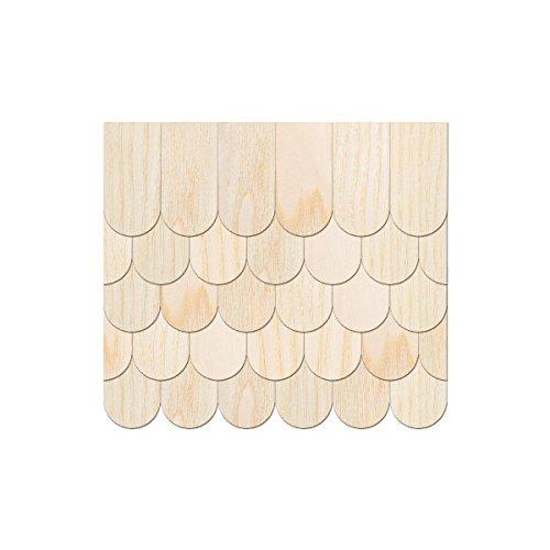 In vero legno impiallacciato luminoso Schindeln–Semicircolare–Coda di castoro–dimensioni e quantità di selezione, 100 pezzi, 15mm x 7.5mm