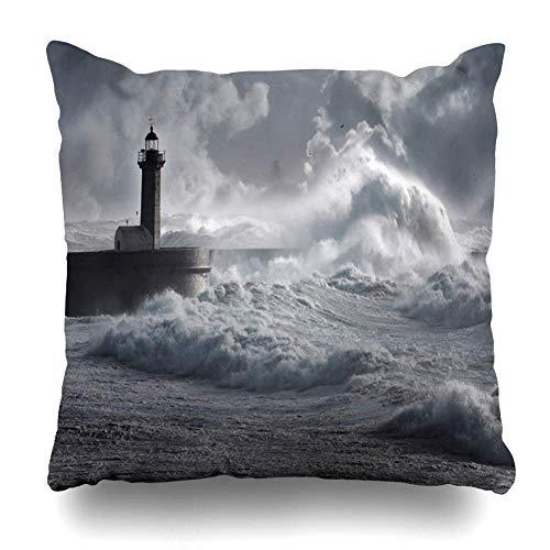 Funda De Almohada Día Mar Azul Tormenta Ondas sobre El Faro Portugal Naturaleza Mejorada Océano Tempestuoso Viento Oscuro Marea Pesada 16×16 Pulgadas
