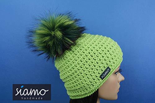 Mütze ZERMATT apfelgrün mit vegetarischem Bommel Unisex Pudelmütze von siamo-handmade