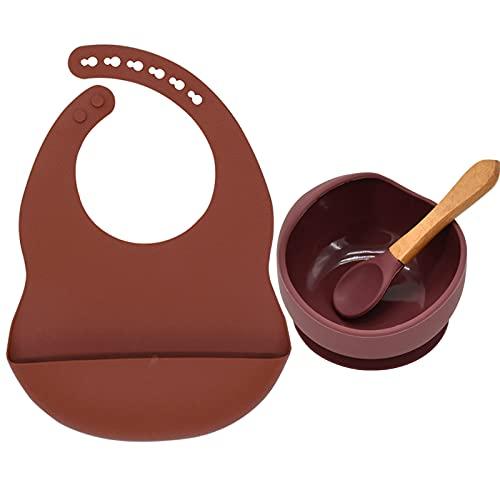 PPuujia Juego de 3 tazones y cucharas de silicona para bebé, sin sedos, con ventosa, impermeable, sin BPA, juego de vajilla para bebés (color: 6)