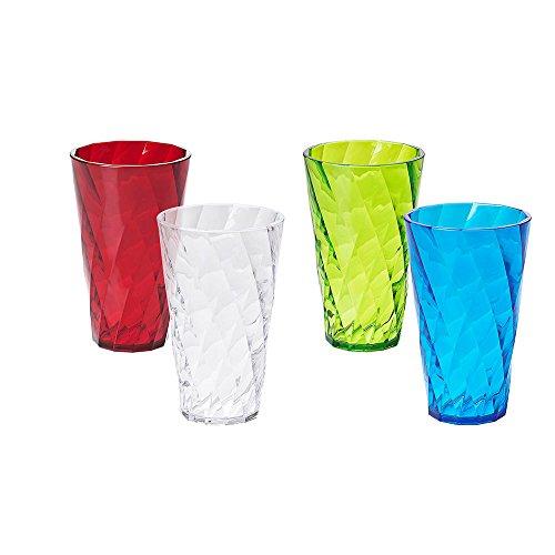Omada Design 4 vasos para bebidas 50 cl, transparente y de color, Diamond Line